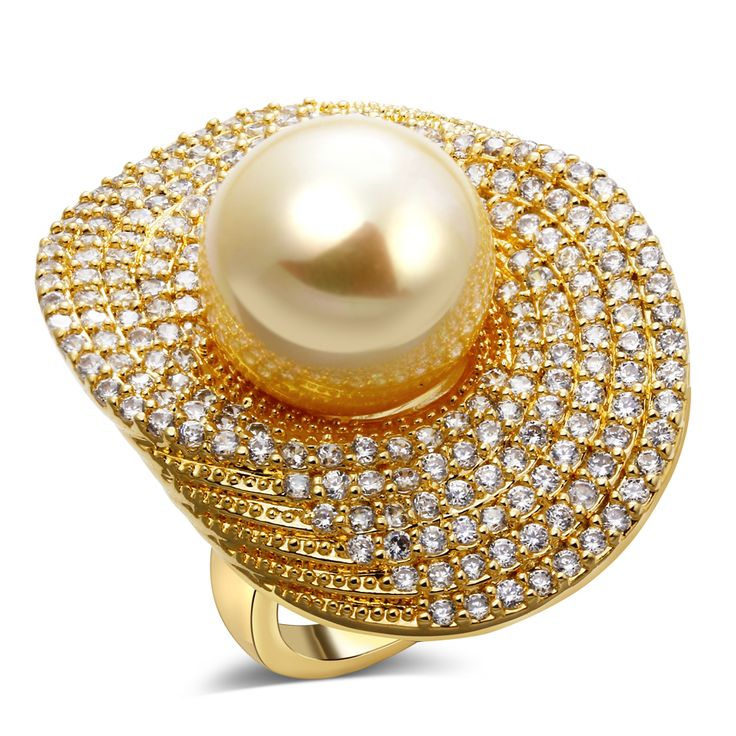 Best natural shell pearl rings for women Ladies Rings prom Wedding Rings For WomenGold