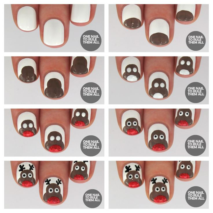 Reindeer Nail Art Tutorial | Easy christmas nails, Art tutorials and ...