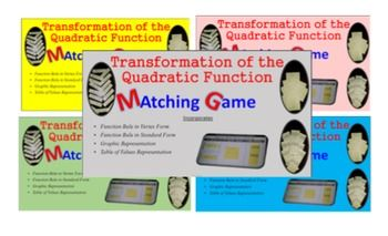 Matching - Quadratic Functions Rule (vertex & standard for