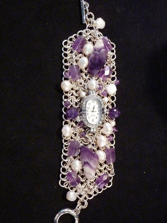 Chainmaille Amethyst and Pearl Bracelet Watch by carolesart, $210.00