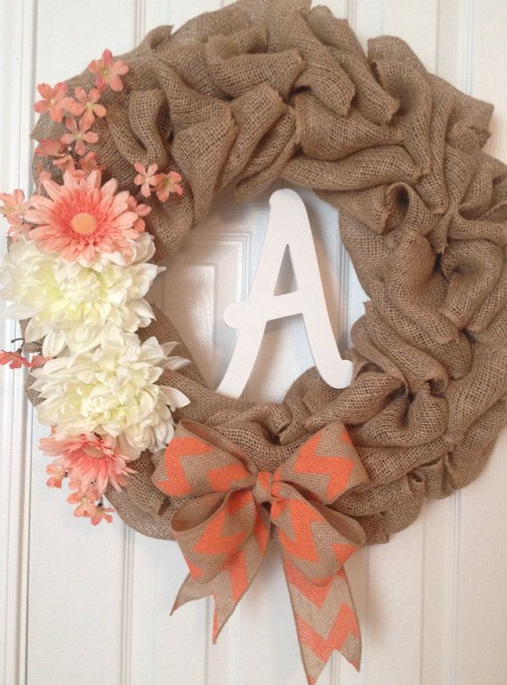 Burlap Spring, Summer Door Wreath with Coral Chevron Bow