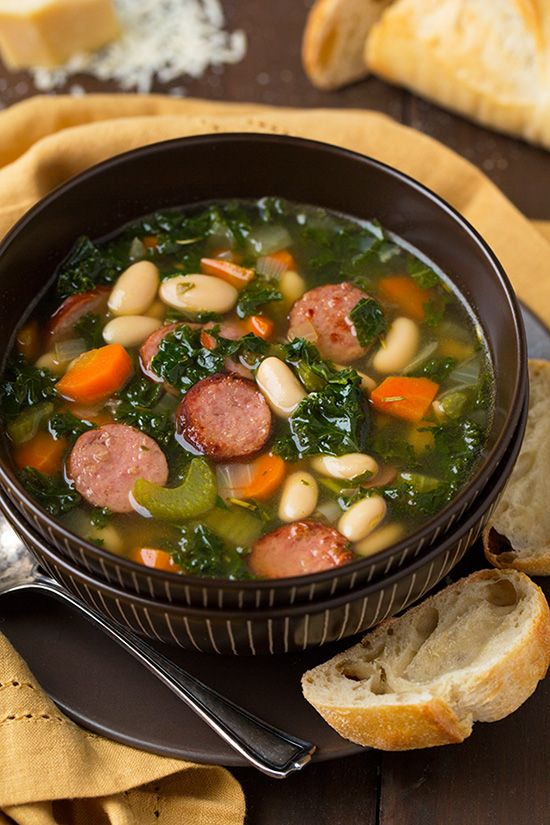 Kale White Bean and Sausage Soup - Ready in about 45 minutes. #soup #foodporn #dan330 http://livedan330.com/2015/04/07/kale-white-bean-and-sausage-soup/