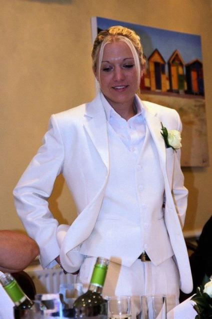 Bridal suit................it's nice to see a butch Not groomed like their on their way to an aryan brotherhood conference.