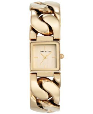 Anne Klein Women's Gold-Tone Bracelet Watch 20x26mm AK-2664CHGB | macys.com