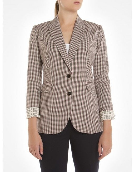 Plaid Tweed Blazer with Elbow Pads - Natural Blazers