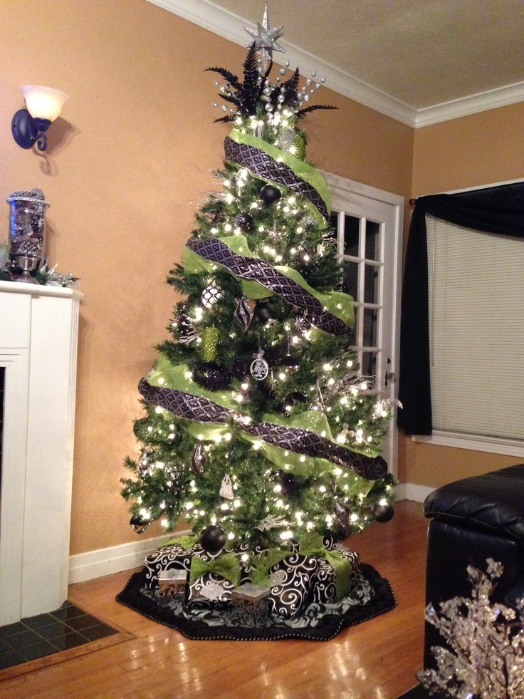 Green Black And Silver Christmas Tree Black Pewter