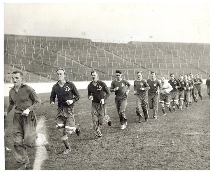 Dynamo Moscow training at Ibrox ahead of their friendly with Rangers in 1945. Image: Scottish Football Museum