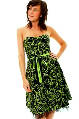 neon green outfits | Womens Green Black Neon Strapless Dress Prom Sz 8 12 | eBay
