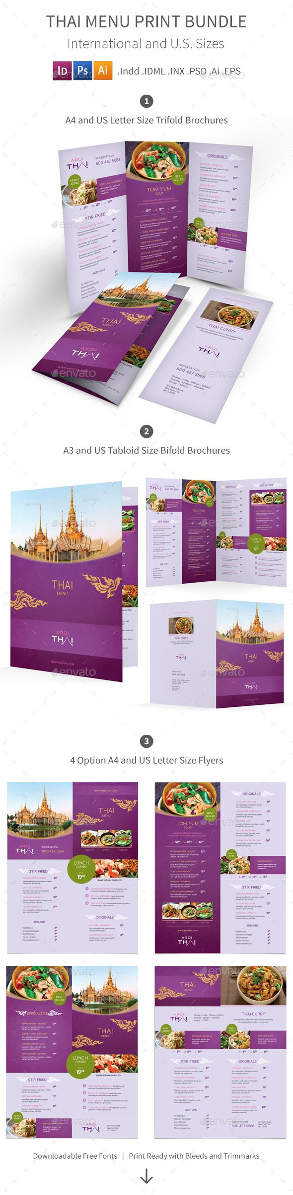 Thai Restaurant Menu Print Bundle Templates PSD, Vector EPS, InDesign INDD, AI Illustrator. Download here: http://graphicriver.net/item/thai-restaurant-menu-print-bundle-2/16460209?ref=ksioks