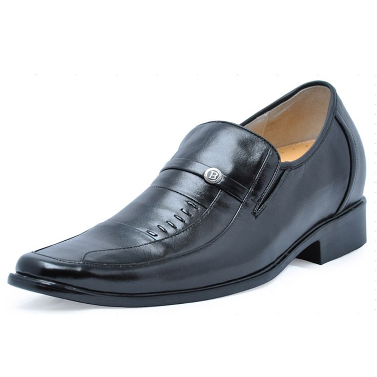 Black  lifts shoes men 7cm / 2.75inch with the SKU:MENJGL_4025 - Black men height increase dress shoes become taller 7cm / 2.75inches