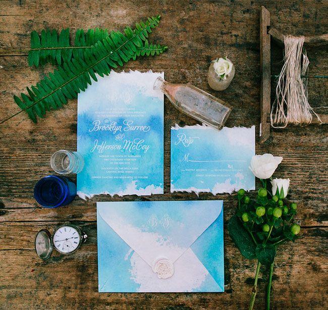 Blue sailboat inspired wedding invitation