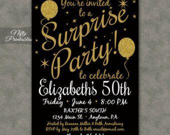 Surprise Birthday Party Invitation Black by paperandinkdesignco