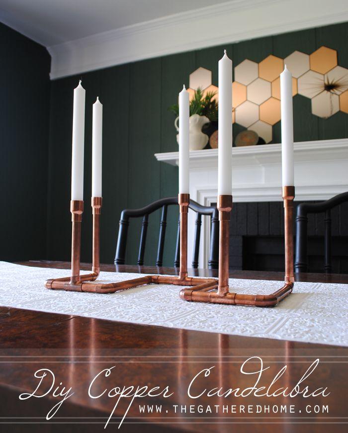Fun and easy DIY - create a showpiece candelabra using copper plumbing parts!