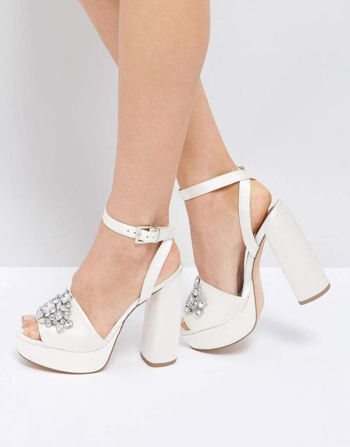 bd3c8fa5f909 Asos Hollywood Bridal Embellished Platform Sandals. Textile upper ...