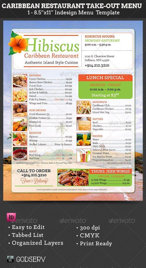 Caribbean Restaurant Take Out Menu Template Caribbean Restaurant Food Menu Template Take Out Menu