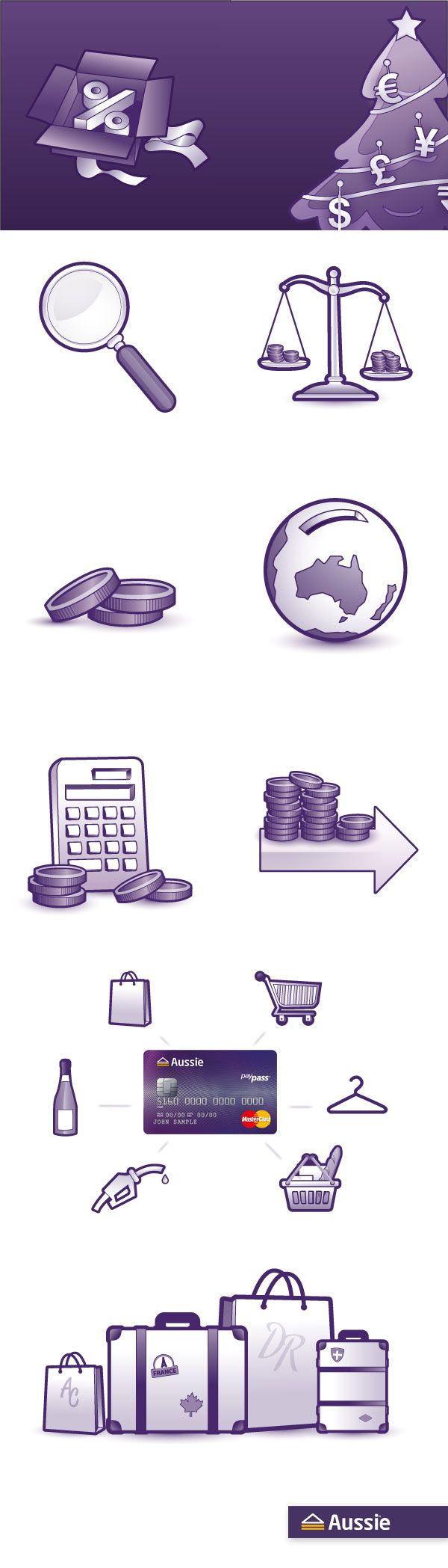 Illustration of icons for Aussie