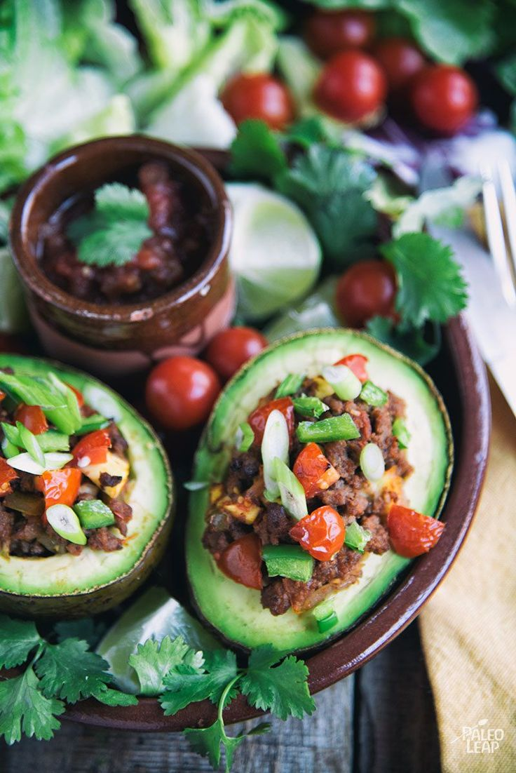 Skip the guacamole, but still enjoy the creaminess and healthy fat an avocado adds to a taco by turning it into the shell.