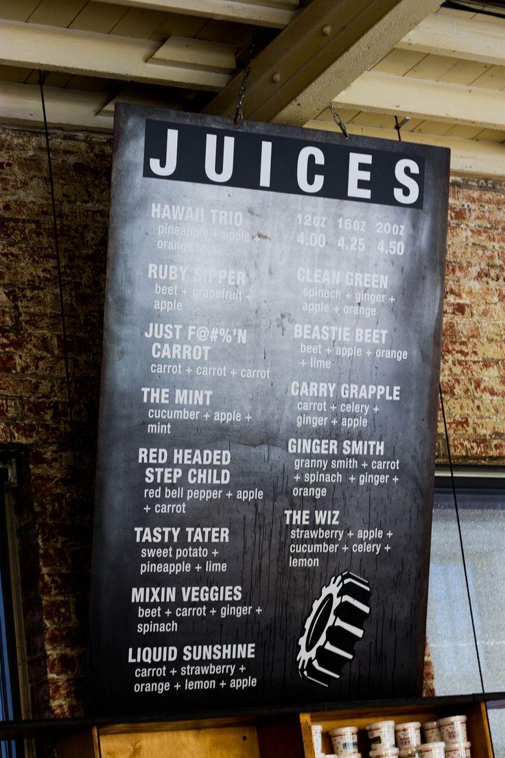 Juice Menu at the Filling Station
