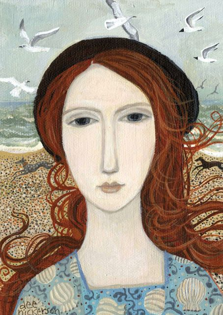 'Girl With Greyhounds' By Painter Dee Nickerson. Blank Art Cards By Green Pebble. www.greenpebble.co.uk
