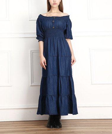Look what I found on #zulily! Dark Denim Tiered Peasant Maxi Dress by Miss Maxi #zulilyfinds