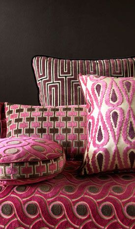 "MARINETTI VELVETS by Osborne & Little: jacquard velvets in contemporary colourings named after artists of the Italian Futurist movement. Filippo Marinetti (1876 – 1944) was an ideologist, poet, editor and founder of the Futurist movement. In The Founding and Manifesto of Futurism, Marinetti declared that ""Art can be nothing but violence, cruelty and injustice."""