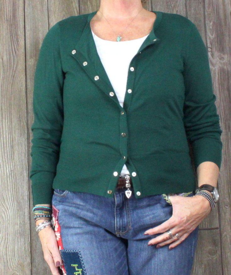 WHBM Cardigan Sweater L size New Green White House Black Market Snap Light Soft #WhiteHouseBlackMarket #Cardigan #Work