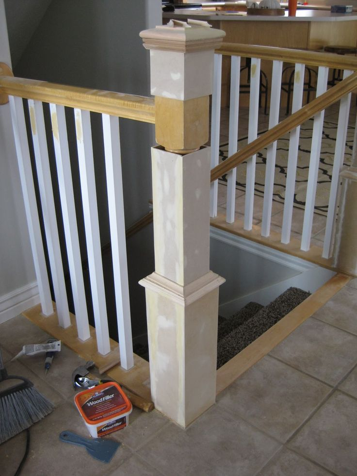 Best Update A Banister With Diy Newel Post And Spindles Tda 640 x 480