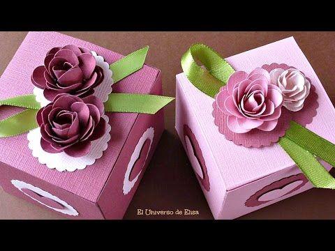 ▶ Cómo hacer Cajas de Regalo, Caja de Regalo con Rosas de Papel - YouTube