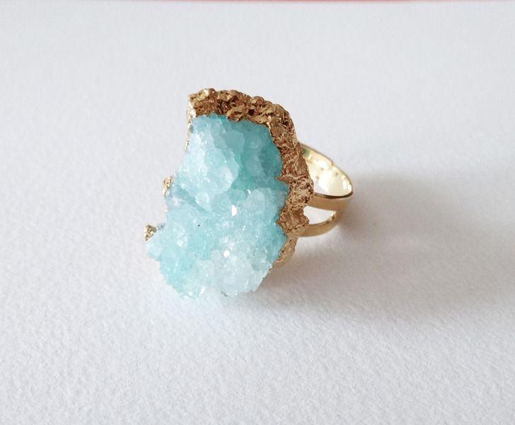❄ blue ice ❄ unique sparkling quartz cocktail ring from pastel&rebel by DaWanda.com