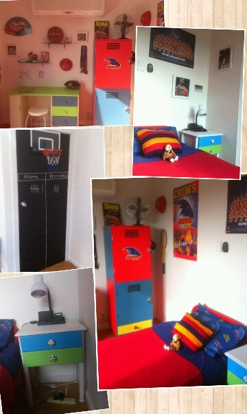 'Sports' bedroom for 11 yr old boy. His team is the Adelaide crows, hence the AFL team colours and posters. He's also basketball crazy too!
