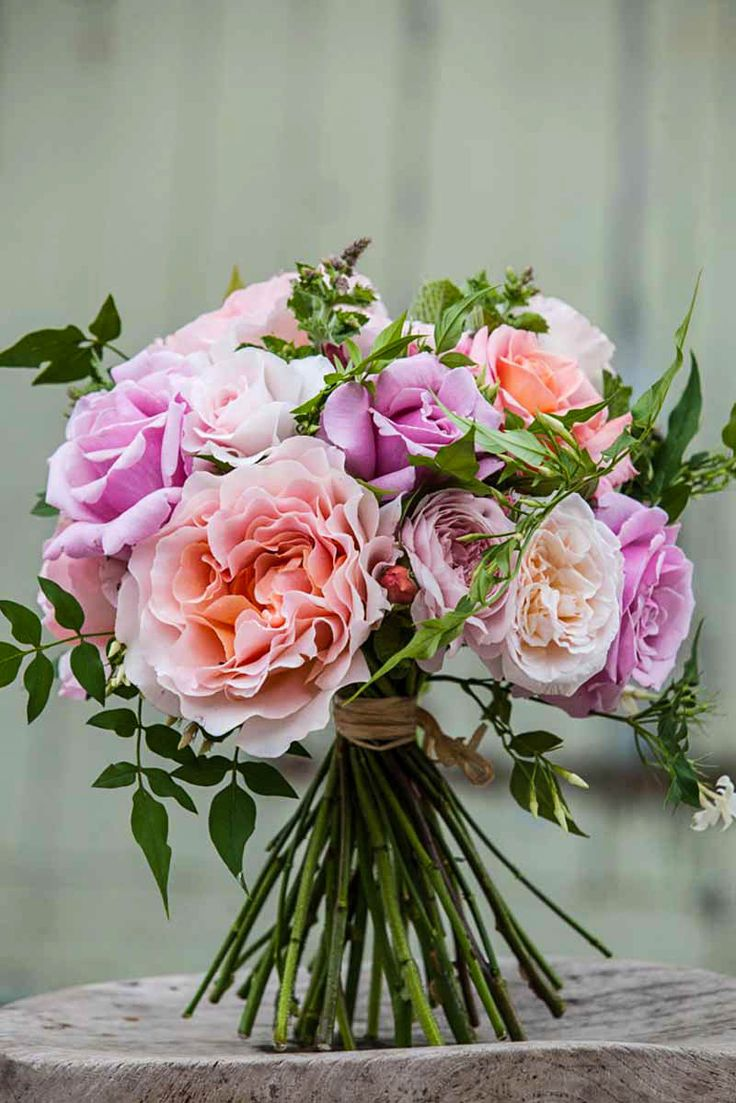 Wedding Bouquets Variety : Bridal bouquet of garden rose varieties and jasmine photo
