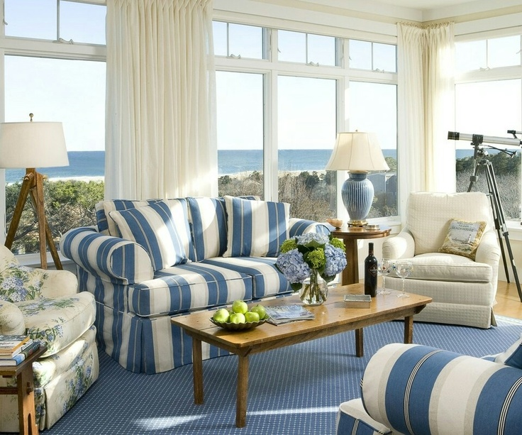 Blue Living Room Decorating Ideas With Carpet Also White And Striped Sofa