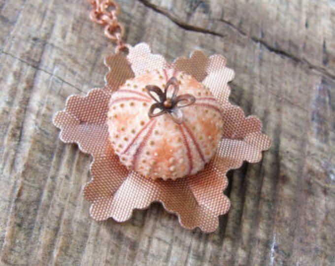Erizo de mar - rosa cobre Vintage flor joyería concha collar