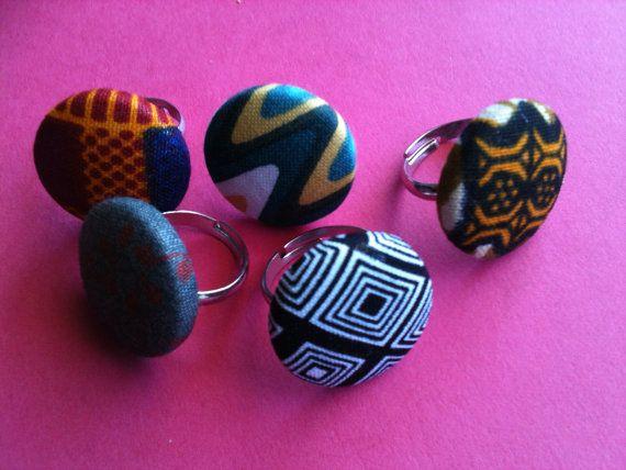 Tecido africano, anel ajustável botão de impressão coberto africano - anéis da tecla de tecido, de jóias africano