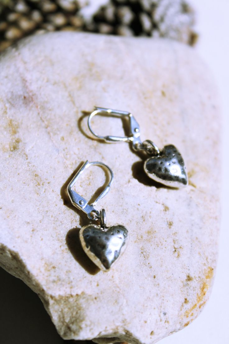 Handmade/Lever Back Earrings/Silver-Petite-Dainty/Heart Shape/Brighton Style-Hammered Metal/Unique Gifts For Her/Mothers Day/15 Dollars Gift by studiogracie on Etsy