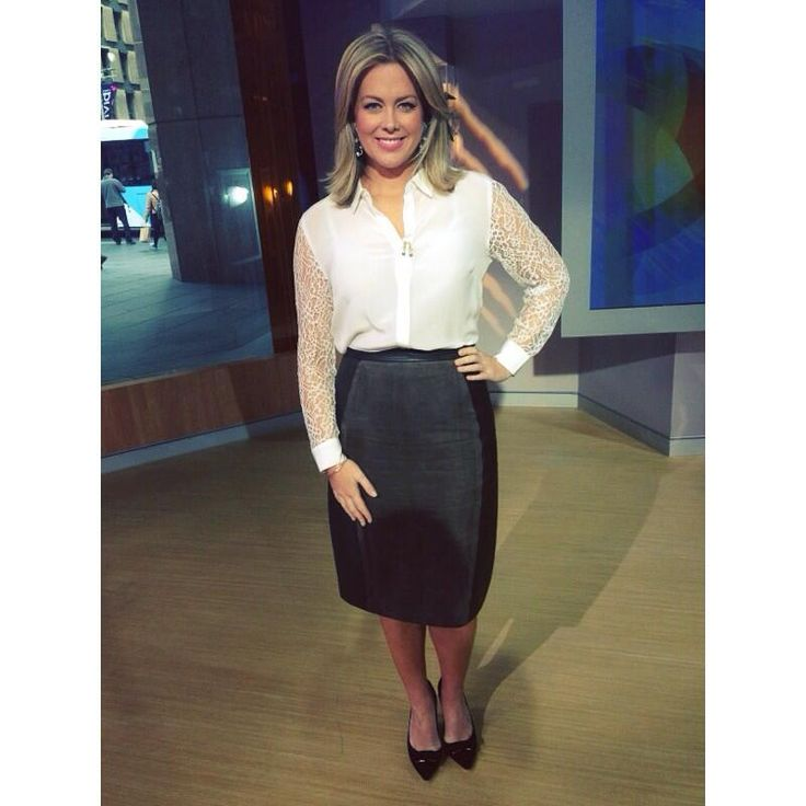 Samantha Armytage, the co-host of the Australia's number one breakfast show, Sunrise, is wearing leather skirt by Raoul from FashioNet.com.au