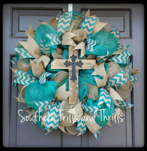 Check out this item in my Etsy shop https://www.etsy.com/listing/230459875/deco-mesh-wreath-burlap-wreath-jute
