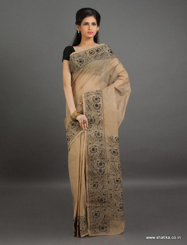 Satvika Beige Pure #Cotton with Black #KanthaWorksaree