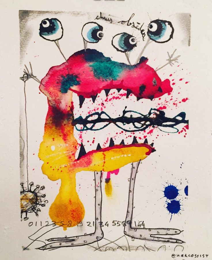 Znalezione obrazy dla zapytania watercolor monster