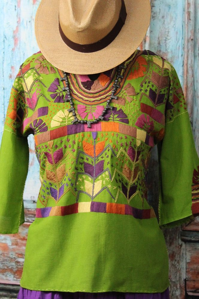 Corn Motif Mayan hand embroidered Mexican blouse tunic Purple Hippie, Boho Chic  #Handmade #blouse