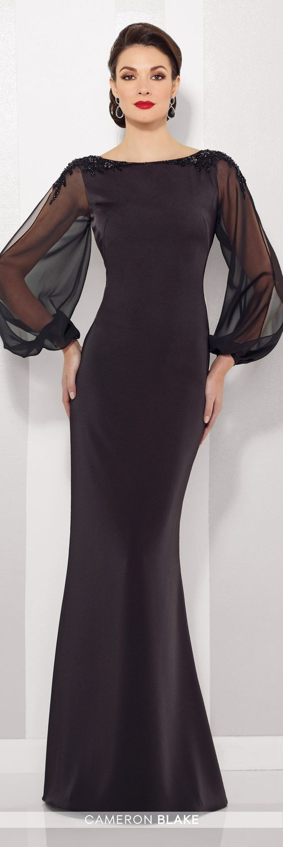 Formal Evening Gowns by Mon Cheri - Fall 2016 - Style No. 216680 - black evening gown with illusion chiffon long sleeves