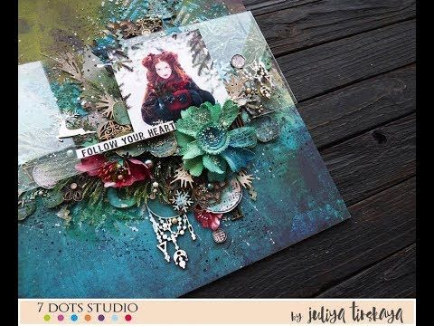 Video tutorial on how to create a mixed-media layout by Juliya Tirskaya featuring 7 Dots Studio Paint Chips collection.