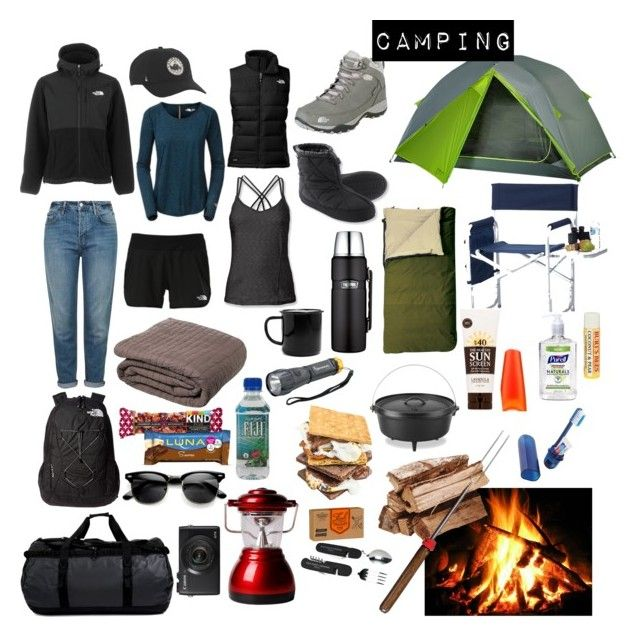 """Camping"" by karleighrempel on Polyvore featuring The North Face, Topshop, Kelty, Amity Home, Picnic Plus, L.L.Bean, Wild & Wolf, Falcon Enamelware, Lodge and Thermos"