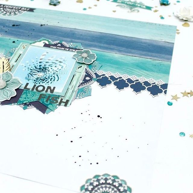 We're captivated by the calming shades of blue featured throughout our Ubud Dreams collection not to mention the way @anitabownds has used them this beautiful layout #kaisercraft #designteam #blog #layout #scrapbooking #ubuddreams #blue