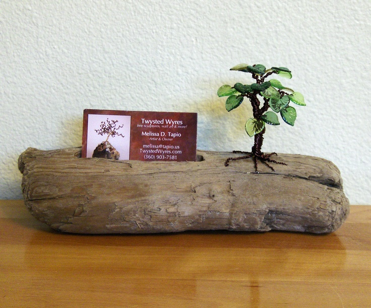 Leafy Tree Business Card Holder - Drift Wood - Wire Tree