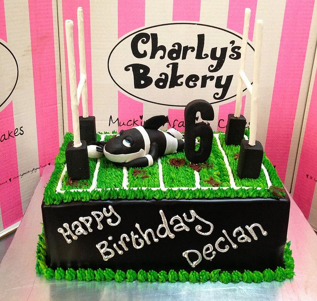 A4 Sharks Rugby Themed Rugby Field Cake With 3D Goal Posts By Charly's Bakery, Via Flickr