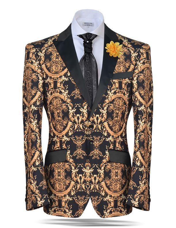 Angelino Fashion Blazer and sport coat, Gold victorian print on super soft microfiber fabric. Satin lapel and pocket flaps.
