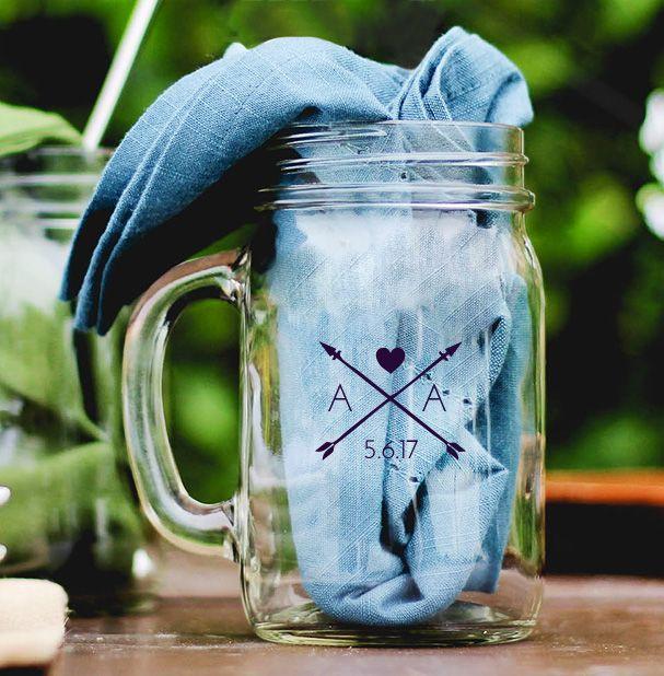 Heart Arrows Personalized Mason Jar Mug Wedding Favor wedding favors