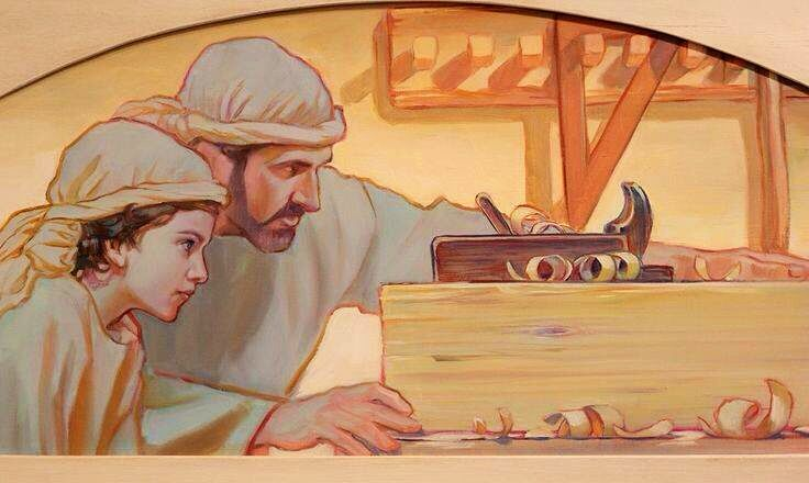 Jesus learning from Jospeh. Rose Datoc Dall.