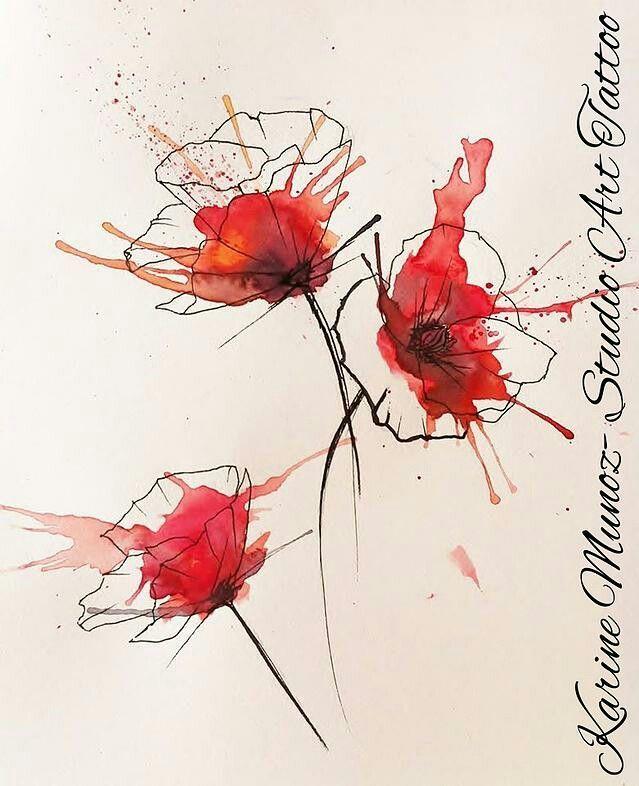 Mohnblume Kunst Ideen Aquarell Blumen Aquarell